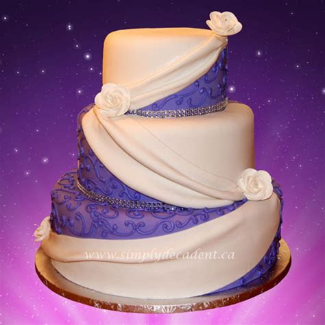 3 Tier Purple Fondant Wedding Cake   CakeCentral.com