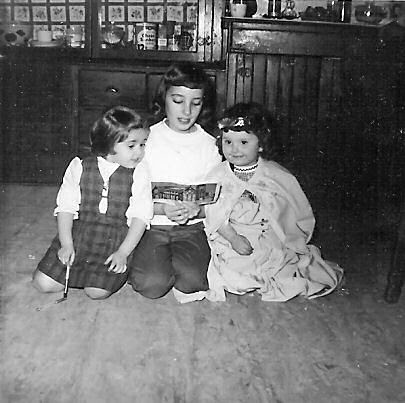 Age four with Cousins Eileen and Kathy.