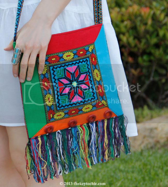 ethnic print fringe handbag, Native Visions bag