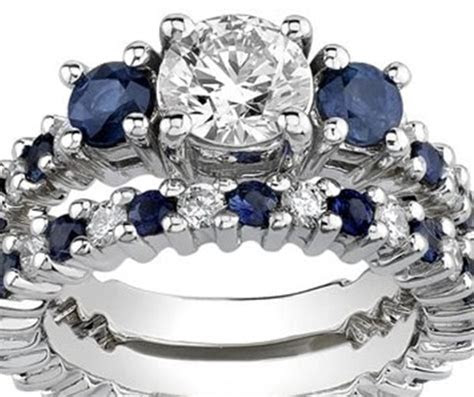 white gold synthetic diamond sapphire engagement set