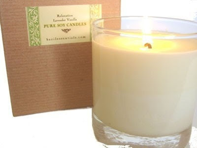 Relaxation - Vanilla Lavender Soy Glass Pillar Candle