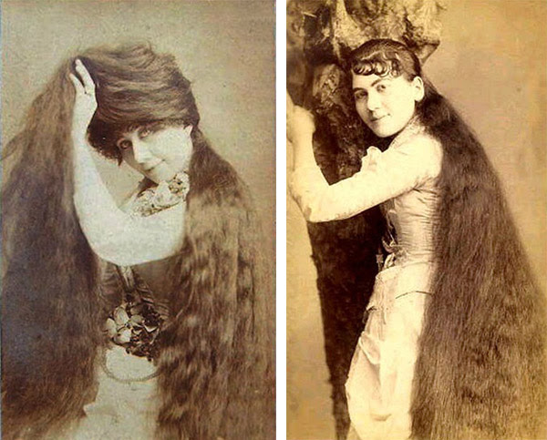 """Left: Naomi, the fifth sister, had the thickest hair, which could envelop her whole body. She managed to have three children with Harry Bailey before she died at a young age. Right: Dora, also known as """"the cute one,"""" lost a suitor to Isabella. (Via Peachridge Glass)"""
