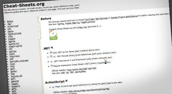 Cheat Sheets Cheat Sheets.org   Cientos de hojas de referencia rápida sobre desarrollo web