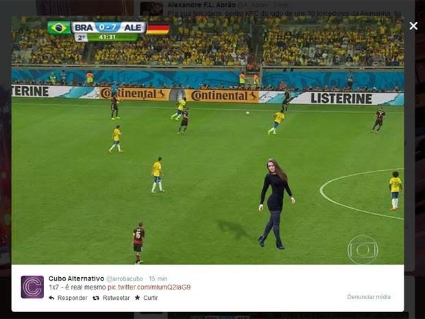 Nana Gouvêa aparece posando para foto na derrota brasileira (Foto: Reprodução/Twitter)