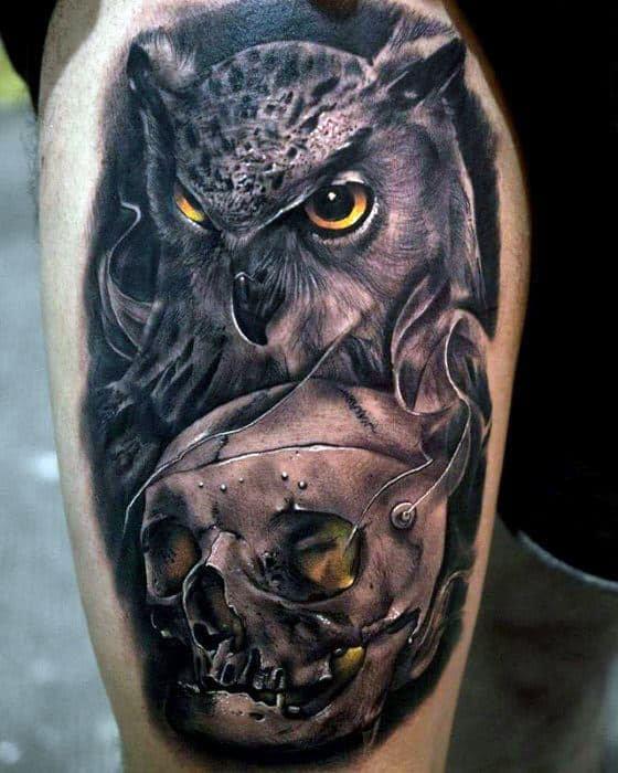 50 Owl Skull Tattoo Designs For Men - Cool Ink Ideas