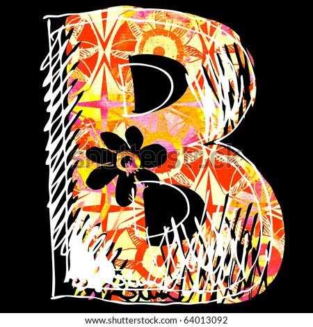 letter b graffiti. hand drawn letter B