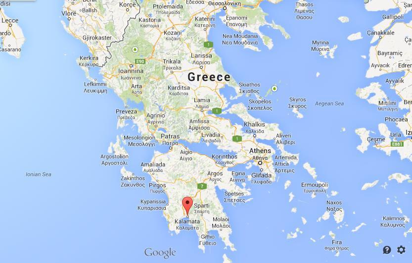 Kalamata on map of Greece
