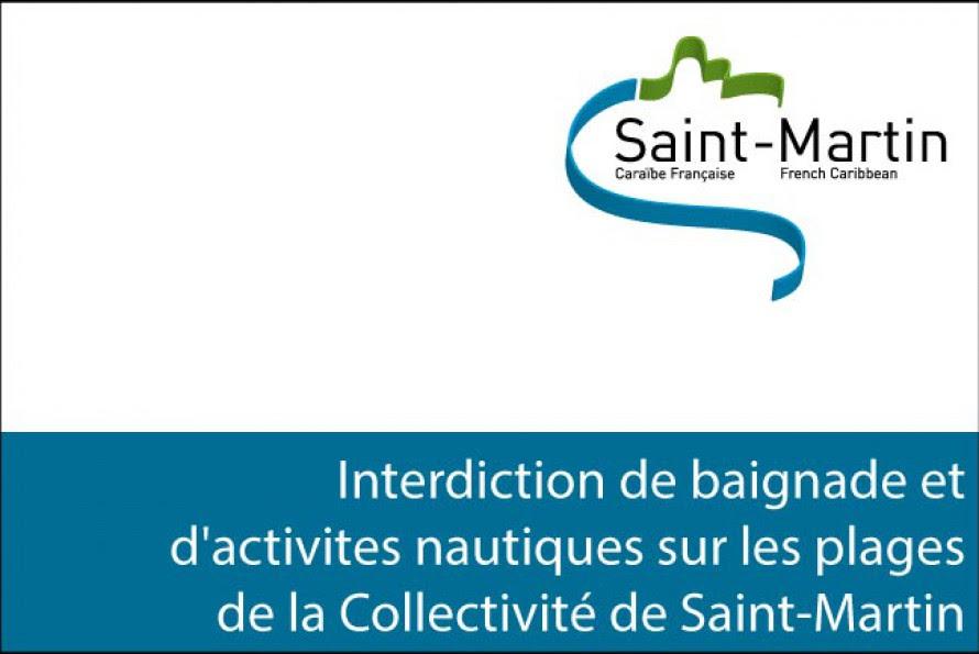 Interdiction de baignade et d'activites nautiques sur les plages de la Collectivité de Saint-Martin suite à l'ouragan Gonzalo