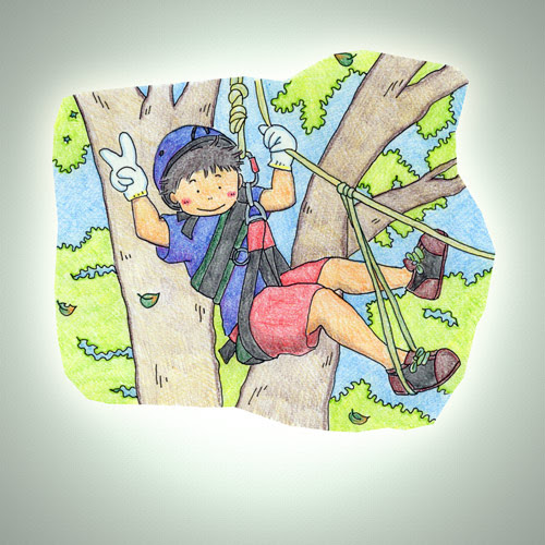 木登りでvサイン 奥の家的イラスト
