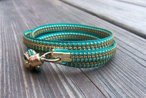 Zipper Bracelet  Teal by kschultz1 on Etsy, $15.00