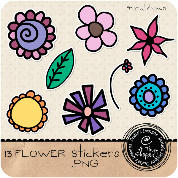 Flower Stickers: Click to download.