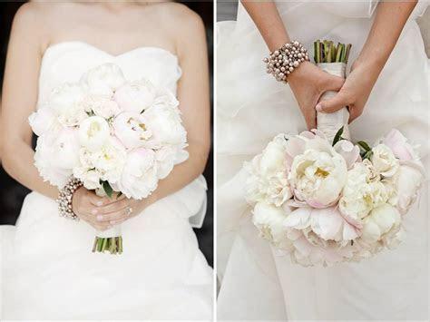 White strapless wedding dress, ivory and blush pink peony