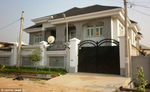 Pictured is a property in Nigeria, owned by Frank Onyeachonam who was jailed for eight years in 2014