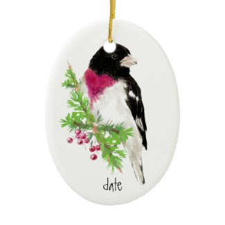 Custom Dated Rose Breasted Grosbeak, Bird Animal Christmas Ornament