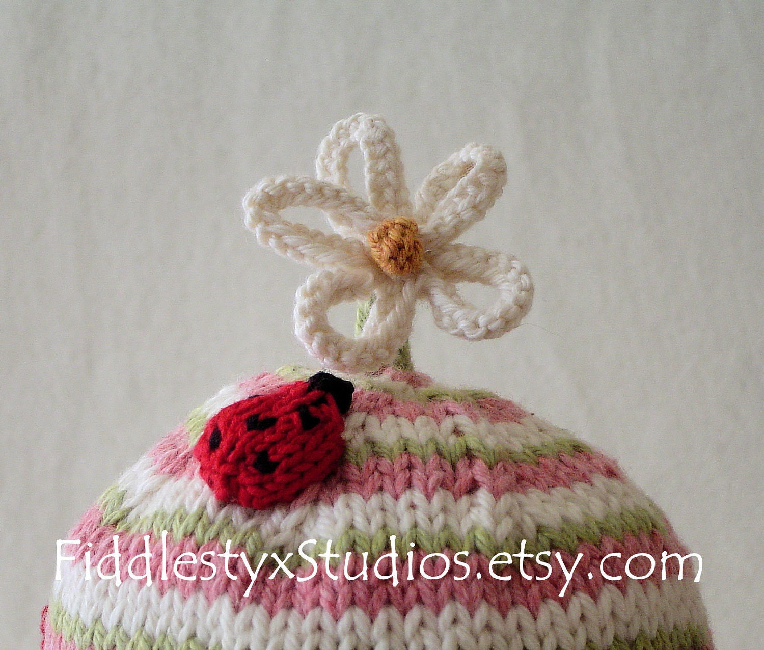Baby Girl Hat Pink Ladybug Cap Newborn Photo Prop Eco Friendly Organic Cotton Hand Knitted Hat Children Clothing (custom sizes available)