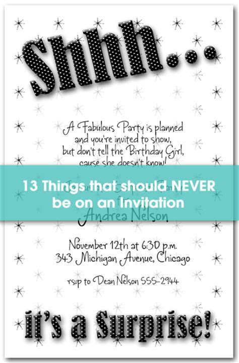 13 Things to NEVER Put on an Invitation