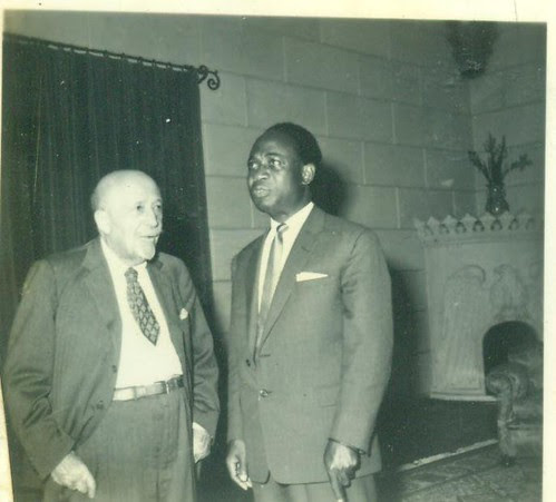 African American scholar W.E.B. DuBois talks with Ghana's first post-independence leader Kwame Nkrumah. Nkrumah invited DuBois to live in Ghana after 1960 when the country became a republic. by Pan-African News Wire File Photos