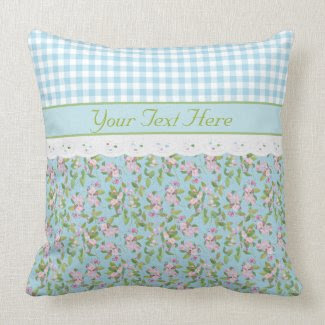 Apple Blossom Floral, Blue Check Gingham and Lace Throw Pillow