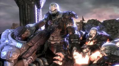Delta Squad takes on the Locust Horde in GEARS OF WAR.
