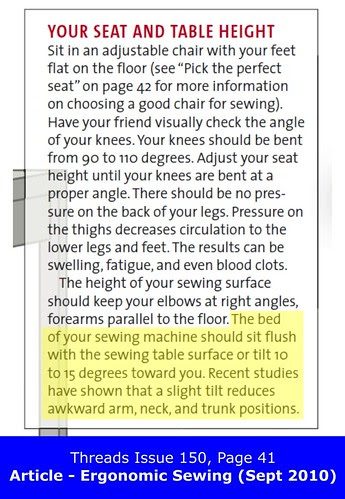 Threads Issue 150, Page 41 - Ergonomic Sewing (Sept 2010)