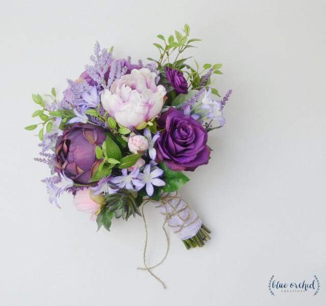Boho Bouquet, Purple, Lavender, Wildflower Bouquet, Light Purple, Peony Bouquet, Wedding Bouquet