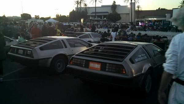 DeLoreans on display at Puente Hills Mall in the City of Industry...on October 25, 2015.