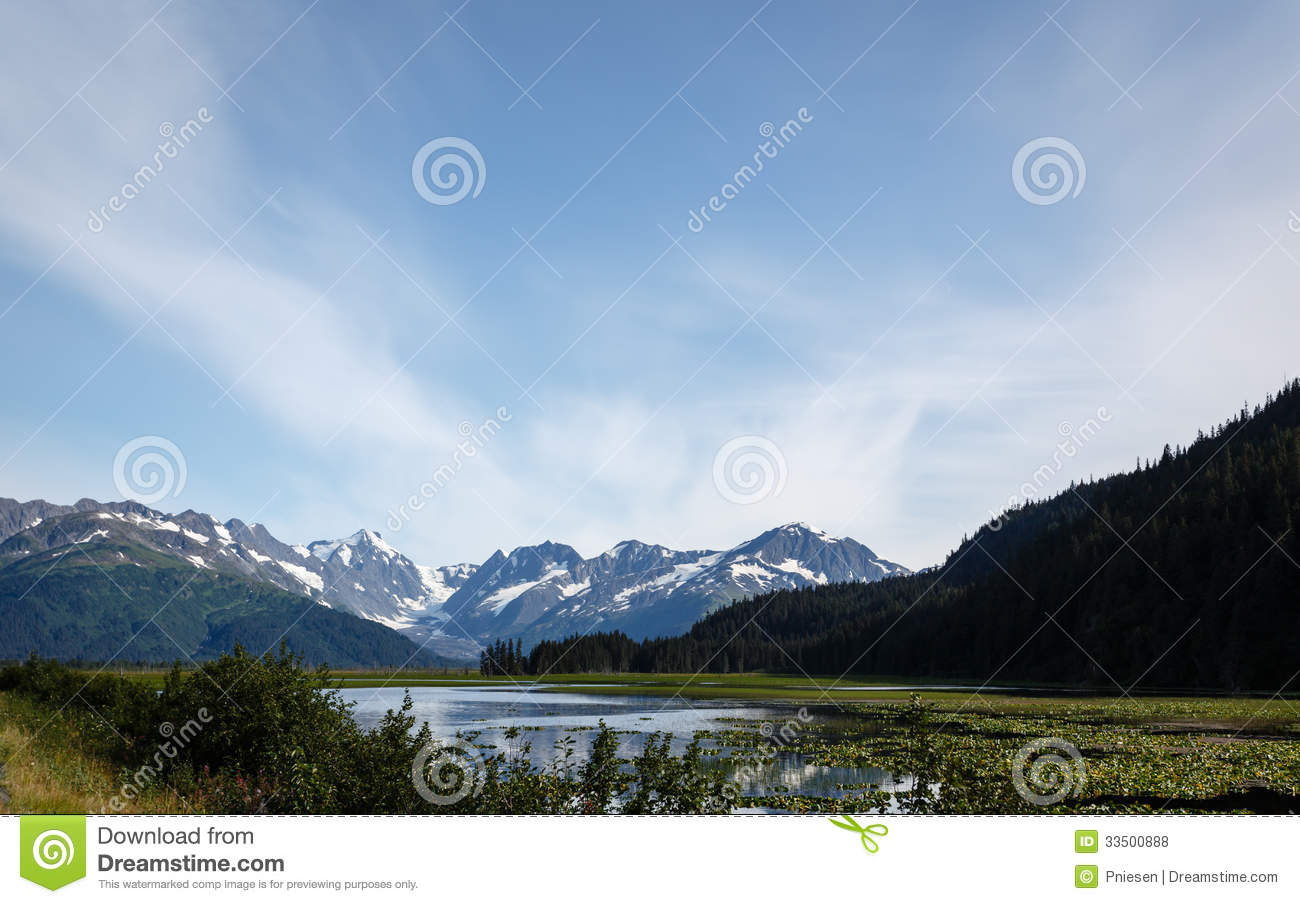 : Mountains and glaciers surround lake in valley in Alaska wilderness