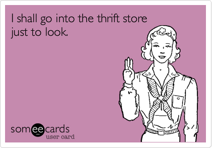 someecards.com - I shall go into the thrift store just to look.