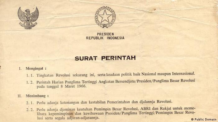 Indonesien Supersemar Dokument ehemaliger Präsident Sukarno