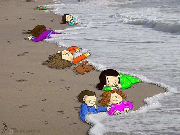 Ilustração homenageia Aylan Kurdi, menino sírio que morreu em praia na Turquia (Foto: Reprodução/Facebook)