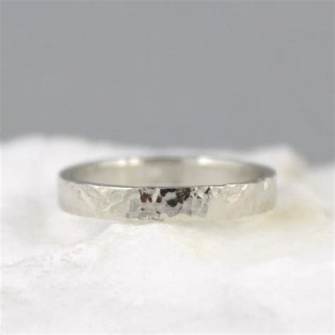 Hammered Texture 3mm 14K White Gold Wedding Band   Unisex