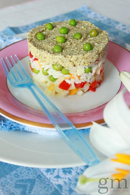 Insalata di riso basmati con crema di ricotta e piselli