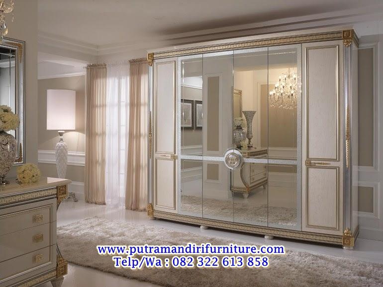 Lemari Pakaian Model Kaca Cermin Mewah Desain Model Furniture Jepara Terbaru