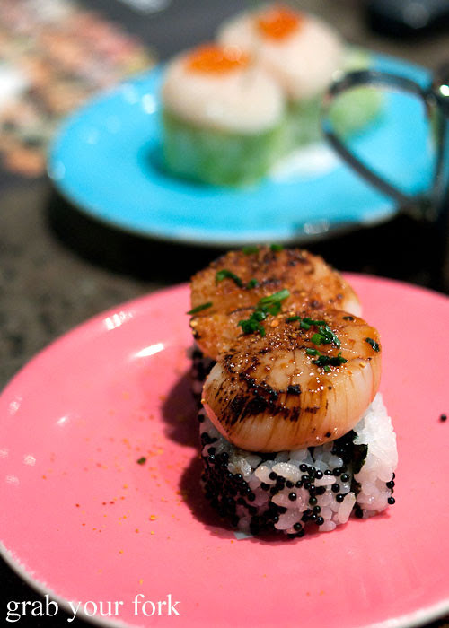 Seared scallop sushi at Umi Kaiten-Zushi