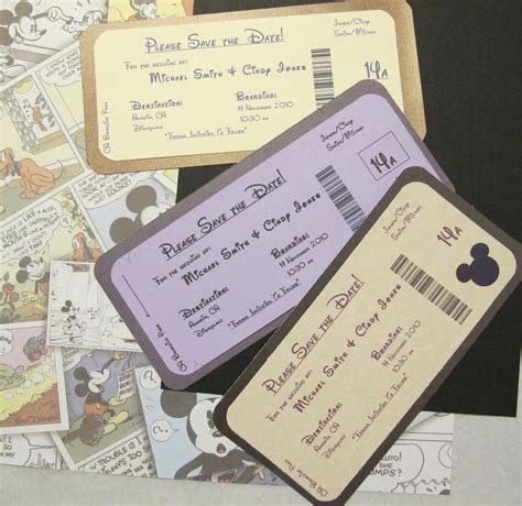 Disney Themed Save the Date Invite Boarding Pass