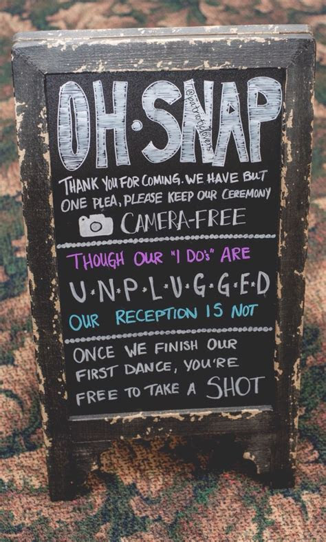 Unplugged Wedding Chalkboard Sign   The Wilson's Wooded