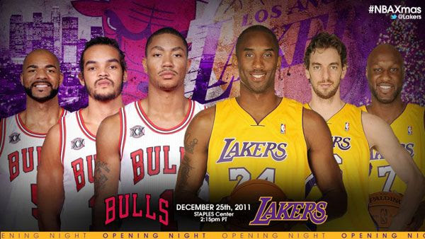 The Los Angeles Lakers take on the Chicago Bulls at STAPLES Center on December 25.