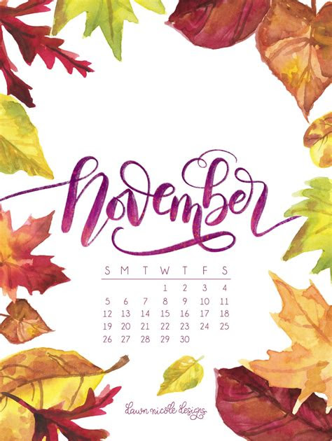november  printable calendar tech pretties dawn