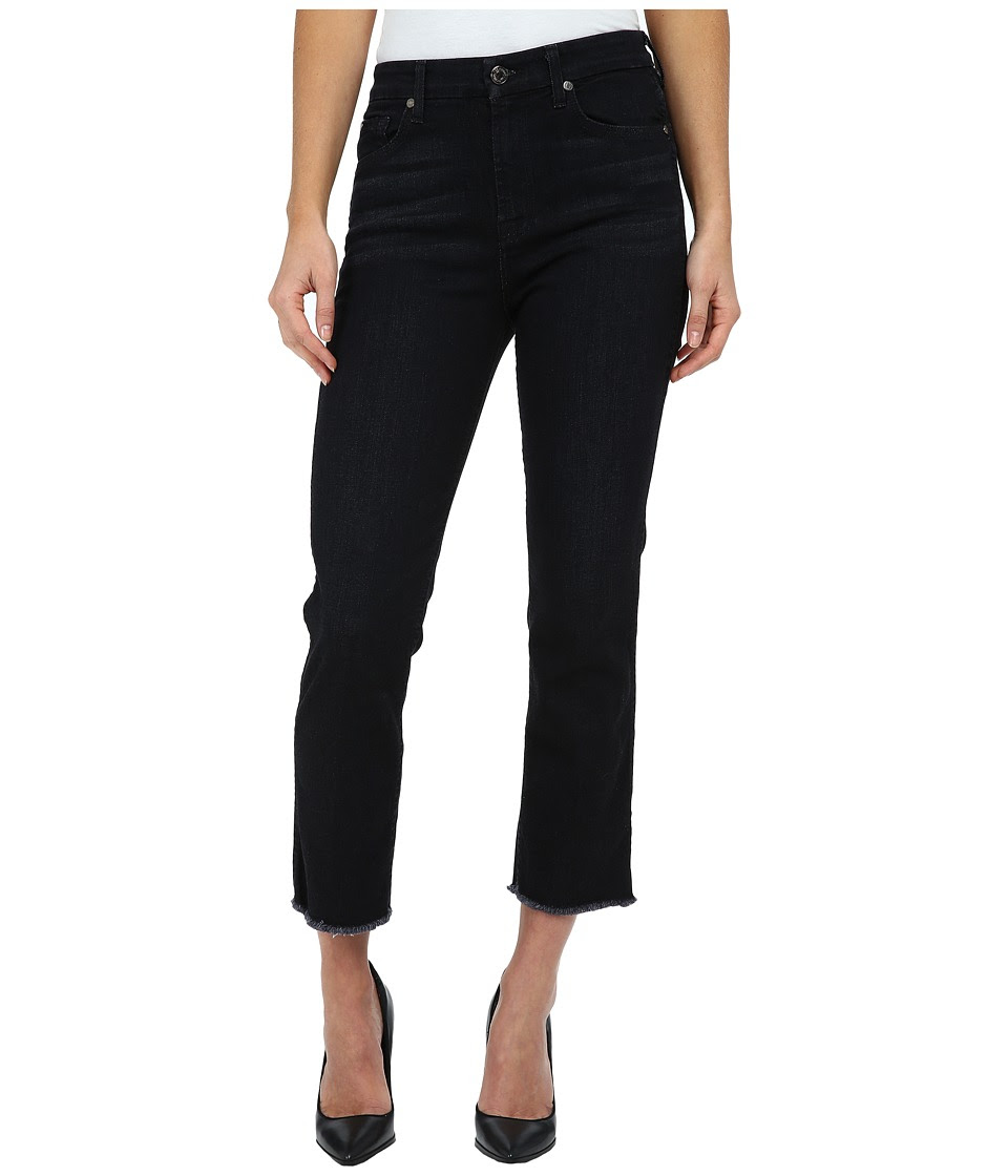 7 For All Mankind - Cropped High Waist Vintage Straight w\/ Raw Hem in Slim Illusion Rich Noir (Slim Illusion Rich Noir) Women's Jeans