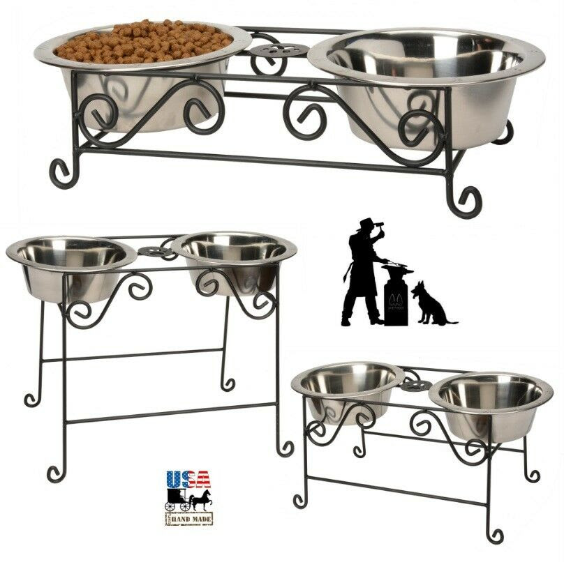 Wrought Iron DOG CAT FEEDER Metal Elevated Pet Food Water ...