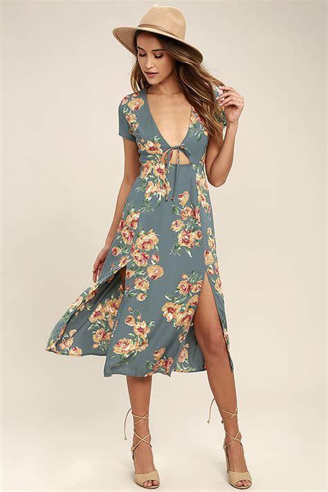 Lovely Dusty Sage Dress   Floral Print Dress   Midi Dress