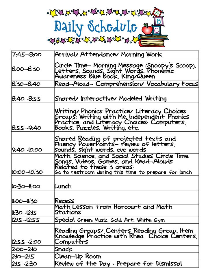 Kindergarten Daily Schedule Template | Daily Planner