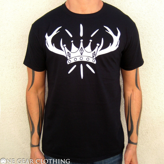 Antlers Shirt - Crown Town - white on black Antlers Super Soft Premium Tee Shirt - Mens / Unisex MEDIUM