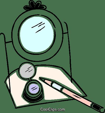 ブラシとメイク化粧鏡 ロイヤリティ無料ベクタークリップアートイラスト