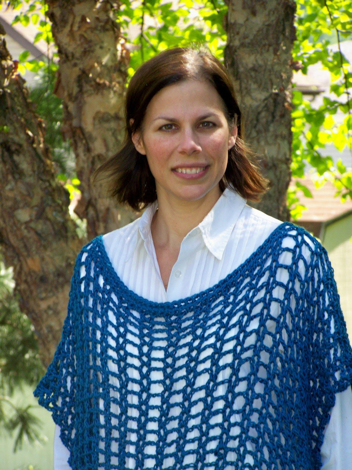 Blue Merino Wool Blend Accent Poncho
