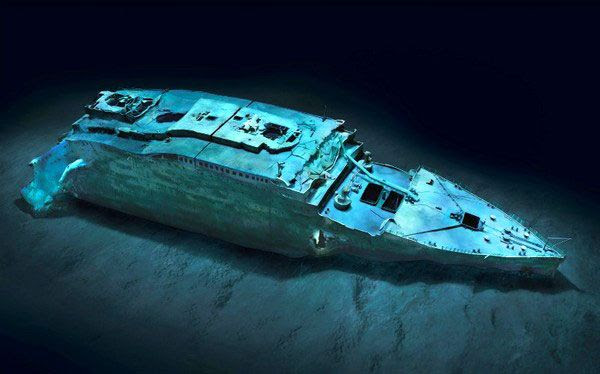 A computer-generated image showing Titanic's bow sitting crumpled on the Atlantic seafloor.