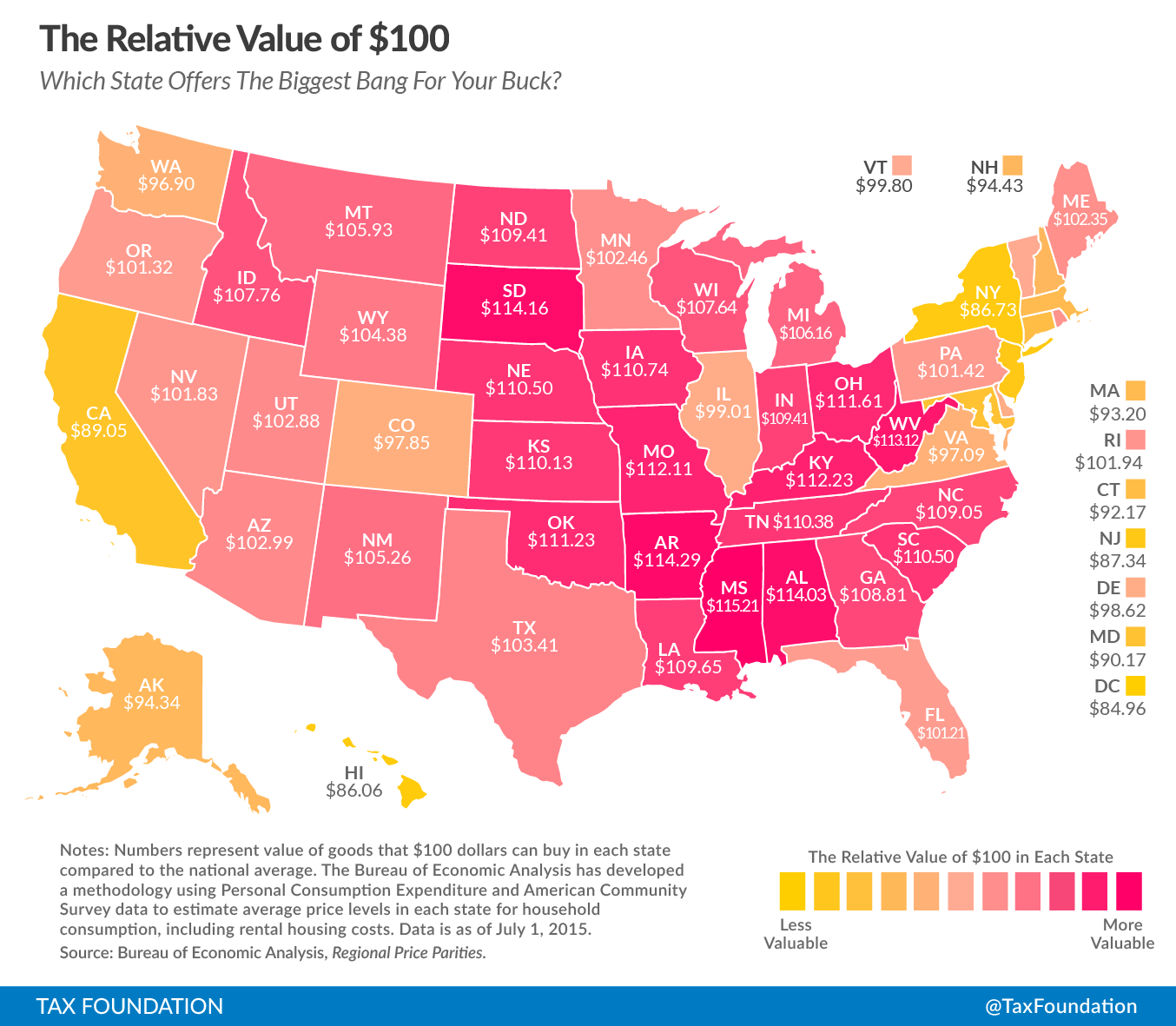 The Fifty States Map.Misunderstood Finance Relative Value Of 100 In The Fifty States Map