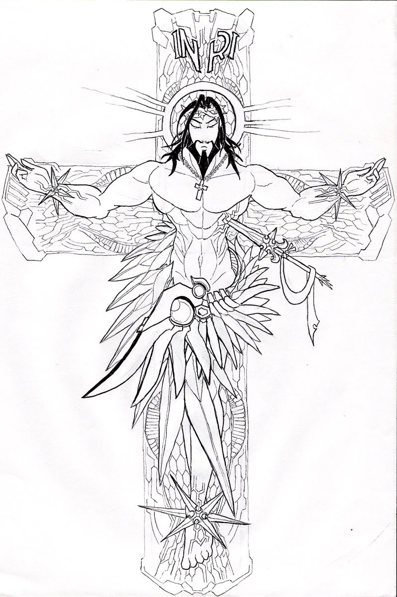 Cross And Jesus Christ Tattoo Design
