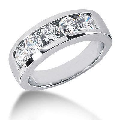 Platinum Round Diamond Mens Wedding Ring 2ct 5 Stone