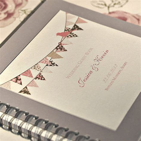 bunting design personalised wedding guest book by